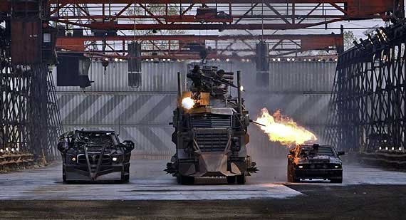 Armored semi-trucks with flamethrowers. You either dig it or you don't.